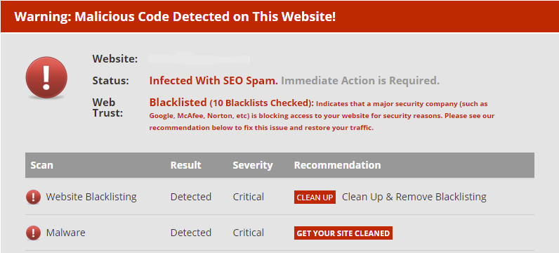 wordpress website hacked cleanup service