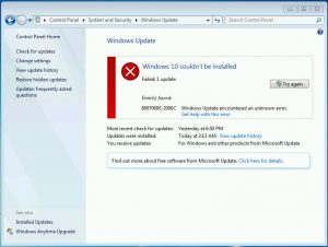 Screenshot of Windows upgrade error