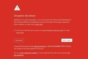 Website blacklisted deceptive site